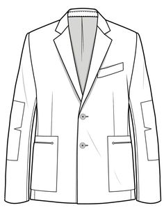 Blazer CAD/FLAT ready for detail and design for the Flat Drawings, Flat Sketches, Clothing Sketches, Fashion Design Sketches, Drawing Clothes, Technical Drawing, Blazer Fashion, Jacket Pattern, Fashion Images