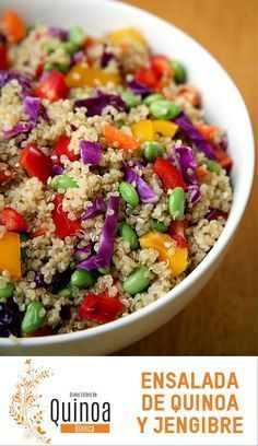 Quinoa is anything but boring in this sesame-ginger salad with protein-packed edamame, crunchy cabbage, and rich sesame oil. Get the recipe: sesame-ginger Quinoa Lunch Recipes, Vegan Recipes, Salad Recipes, Veggie Meals, Qinuoa Recipes, Veggie Food, Vegan Foods, Vegetarian Meals, Vegan Vegetarian
