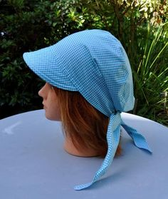Cap with visor, headscarf bandana scarf preformed in turquoise blue gingham cotton, one size Scrub Hat Patterns, Hat Patterns To Sew, Sewing Patterns, Techniques Couture, Bleu Turquoise, Bandana Scarf, Diy Hair Accessories, Blue Gingham, Scrub Hats