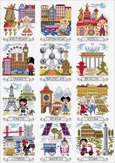 Here's a cute free SAL created by DMC Europe. Each month will feature a different European city: Amsterdam, Copenhagen, Moscow, London, Brussels, Berlin, Paris, Bern, Vienna, Lisbon, Madrid a…