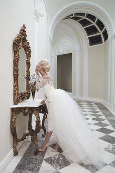 House of Mooshki wedding dress with a pencil skirt and detachable train | see more on: http://burnettsboards.com/2014/04/house-mooshki/