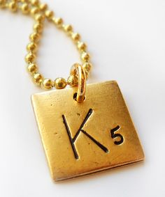 Take a look at this Antique Gold Game Tile Initial Pendant Necklace on zulily today!