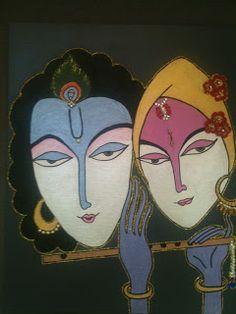 Krishna Radha Mural.... Hand painted with embellishments :)