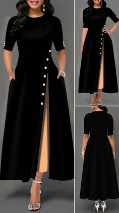Womens Fashion - Side Slit Half Sleeve Button Detail Maxi Dress HOT SALES beautiful dresses, pretty dresses, holiday fashion, dresses outfits, d Beautiful Dress Designs, Stylish Dress Designs, Designs For Dresses, Stylish Dresses, Elegant Dresses, Pretty Dresses, Beautiful Dresses, Awesome Dresses, Casual Dresses