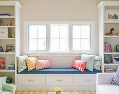 Gorgeous girls bedroom with built-in bookshelves flanking window seat with drawer storage. Blue Bedroom, Trendy Bedroom, Girls Bedroom, Bedroom Decor, Bedrooms, Window Seat Cushions, Window Benches, Window Seats, Window Sill