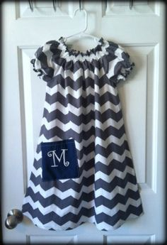 Gray Chevron Peasant with Initial on pocket by dainteedesigns, $34.00