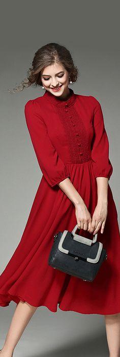 Flame Scarlet Lace-paneled A-line Shirt Dress