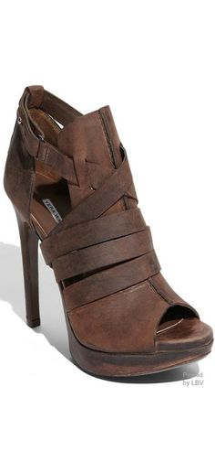 vera wang dark brown leather ankle boot
