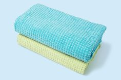 Soft cotton Quick-Dri towels, in a choice of 12 colors, save on dryer time and won't smell mildewy come summer. The waffle weave allows air to circulate and the towels to dry about 30 percent faster than standard terry. Find them at @jcpenney