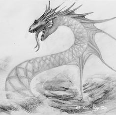 Sea serpent drawn by Anne-May Lien #sea #serpent #drawing