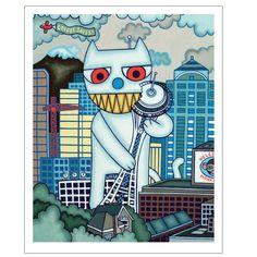 Got Coffee Cat (Coffee Saves!) by Matthew Porter Circus Performers, Wall Art Decor, Art Prints, Coffee Cat, Illustration, Artist, Fun, Kitty Cats, Animals