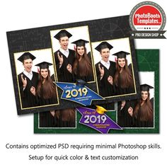 Graduation time! Celebrate the end of the school year or any academic ceremony with a festive and glamorous graduation template! This unique design features a bold graduation cap banner for event information outlined with a glitter border with matching photo frames. A subtle chalkboard background completes this theme. All elements can easily be color adjusted to compliment any event. Photobooth Template, Graduation Templates, 4x6 Postcard, Chalkboard Background, Text Color, Photoshop Elements, All Fonts, Photo Booth, Outline
