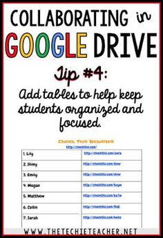 5 ways to avoid disasters when students are collaborating in Google Drive. Tip #4: Add tables to help keep students organized and focused Google Drive, Teaching Technology, Educational Technology, Technology Integration, Google Docs, Google Classroom, Classroom Ideas, Instructional Technology, Instructional Strategies