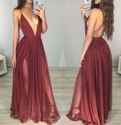 Long Sexy Dark Red Chiffon Prom Dress,A-line Prom Dress ,V-neck Slit Side Burgundy Prom Dress,264 - Thumbnail 1