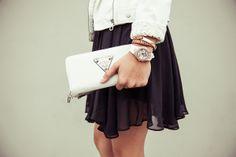 Dark dress, light accessories. #StreetStyle