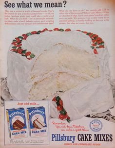 Vintage Pillsbury Cake Mix Ad  1950