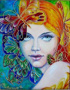 """Купить Картина """"Butterfly"""" - девушка, бабочка, Витражная роспись, картина, подарок, екатерина захваткина, стекло"""