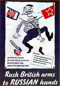 """""""Armas Britanicas para las manos rusas"""" - Cartel de propaganda Británico reedicion de otro impreso en la Unión Soviética - British propaganda poster - Segunda guerra mundial - Second World War - WWII"""
