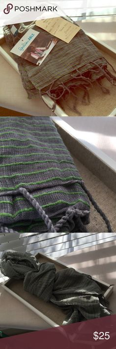 NWT FashionABLE gray and green scarf This lightweight scarf is the perfect addition to any outfit and is great for those somewhat chilly days. It is made of a gray linen with bright green stripes. FashionABLE is a great brand that focuses on empowering women around the world. This particular scarf was made by Etonesh, who through her business is able to support her son's education. Accessories Scarves & Wraps