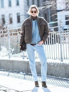 Camille Charriere layering a wool jacket over a double denim combination.