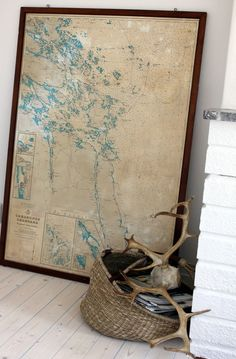 antlers and old map