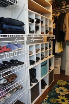 love the FRONT of the shoe pointing out - duh! Easy to find! Note the Closet Maid items added to existing wire closet system - customize as needed! Like the extra shelves for shoes