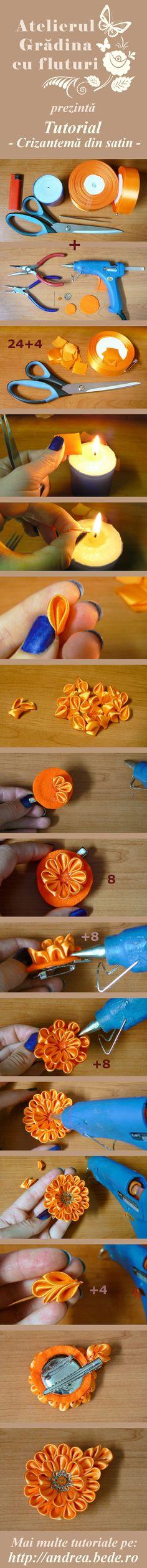 Tutorial foto: crizantema din satin | Atelierul Grădina cu fluturi