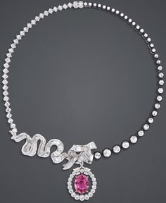 """DIOR """"Chambre de la Reine"""" necklace in white and pink gold, scorched silver, diamonds and pink sapphire."""