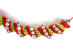 Christmas Elf  Red Green and Metallic Seed Bead Choker by Pookledo, £15.00
