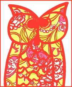 chi omega lilly printed owl