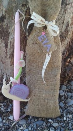 Eva the snail... Scented Easter Candle (rose), felt, strass & beads.