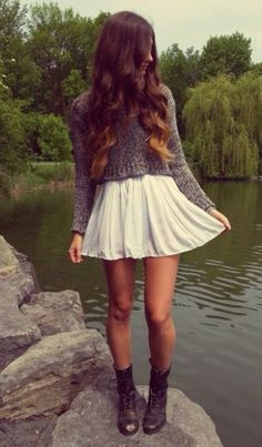 Skater skirt + cropped sweater + combat boots