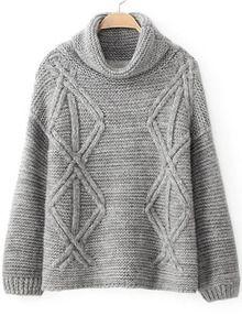 Grey High Neck Long Sleeve Diamond Patterned Sweater