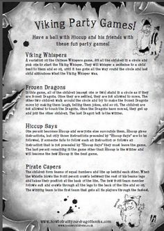 "Games to go with ""How to Train Your Dragon"" from http://www.filmeducation.org/howtotrainyourdragon/pdfs/HTTYD_Hiccup_party_games.pdf"