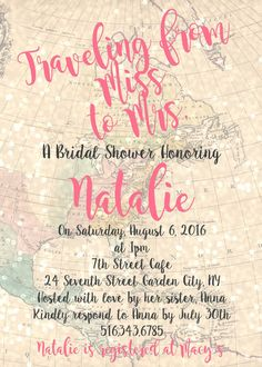 Traveling from Miss to Mrs. Bridal Shower Invitation  5x7 Digital Printable Invitation  Celebrate the travel loving bride-to-be!  Shower the bride-to-be with this invite! This invitation is great for a travel themed bridal shower where the guest of honor will be showered with love and happiness by her loved ones!  Please note that this item is a digital item. No physical item will be mailed.  *If you are interested in printing services, please contact me to discuss details. Allow for…