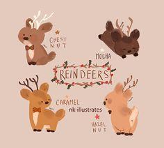 """nk-illustrates: """"Reindeers. """""""