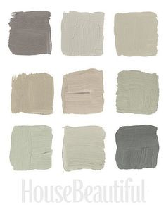 House Beautiful Designer Grays 1:  Top Row, 1- Benjamin Moore's Bear Creek 1470, 2-Donald Kaufman Color Collection's DKC-8, 3-Donald Kaufman Color Collection's DKC-10 Middle Row, 1-Farrow  Ball's Shaded White 201, 2-Benjamin Moore's Raccoon Hollow 978, 3-Benjamin Moore's November Rain 2142-60 Bottom Row, 1-Benjamin Moore's Soft Fern 2144-40, 2-Donald Kaufman Color Collection's DKC-62, 3-Farrow  Ball's Down Pipe 26