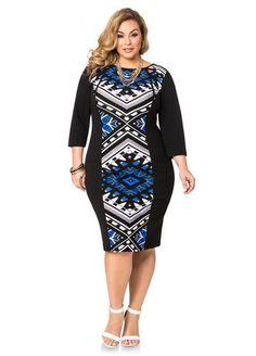 a1d51a557c6 Geo Panel Cut-Out Sheath Dress. Fashionable Plus Size ClothingPlus Size  FashionBatik ...