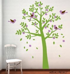 Tree Wall Decal Art - Vinyl Removable Decal Nursery Sticker - Rounded Leaf Tree with Birds. $72.00, via Etsy.