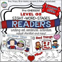 Winter and Valentine PreEmergent Readers and Activities Sight Word Activities, Hands On Activities, Classroom Activities, Winter Activities, Kindergarten Lesson Plans, Kindergarten Literacy, Early Literacy, Help Teaching, Teaching Resources