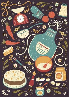 Retro Cooking Baking Apron Brown Vector Illustration ~ Carrot Cake by Anna Deegan via Behance Cake Illustration, Food Illustrations, Poster Photo, Motifs Textiles, Kitchen Art, Vintage Kitchen, Vintage Design, Vintage Ideas, Carrot Cake