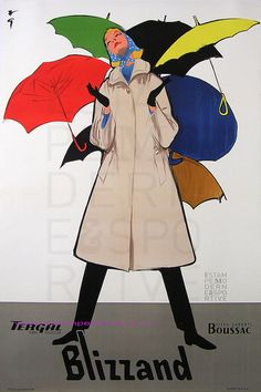 Blizzand Rainwear - French advertisement for Blizzand Tergal clothes, illustration by René Gruau (1959)