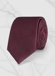 Cravate slim - Soie - Bordeaux - Faux uni