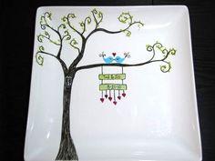Hand Painted Platter- Love Birds on Whimsical Tree. $45.00, via Etsy.