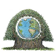Planet Earth in a tree Color illustration