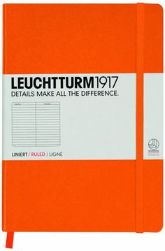 Notebook A5 Lined Orange  £11.95 VAT  Simply, the best notebook around: Hardcover A5 notebook from Leuchtturm1917, with ruled paper. Includes 249 pages, thread bound to open flat, blank table of contents, 8 perforated and detachable sheets, expandable pocket, page marker and elastic enclosure band, stickers for labelling and archiving, ink proof and acid free paper.