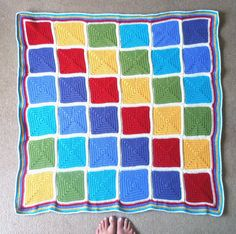 Rainbow squares crochet baby blanket – finished! | Land of Bread ...