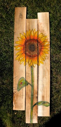 Wood Burned and Painted Sunflower with Ladybug on von LaRenDesign