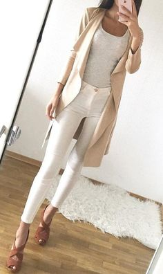 #fall #fashion · Grey Tank / Cream Trench / White Skinny Pants