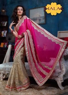 Pink with Gold color Georgette fabric saree-ADA-10